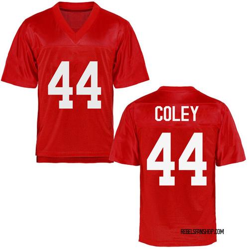 Men's James Coley Ole Miss Rebels Replica Cardinal Football College Jersey
