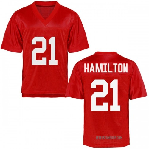 Men's Javien Hamilton Ole Miss Rebels Game Cardinal Football College Jersey
