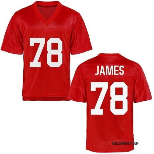 Men's Jeremy James Ole Miss Rebels Replica Cardinal Football College Jersey