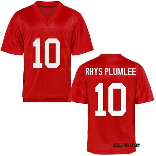Men's John Rhys Plumlee Ole Miss Rebels Game Cardinal Football College Jersey