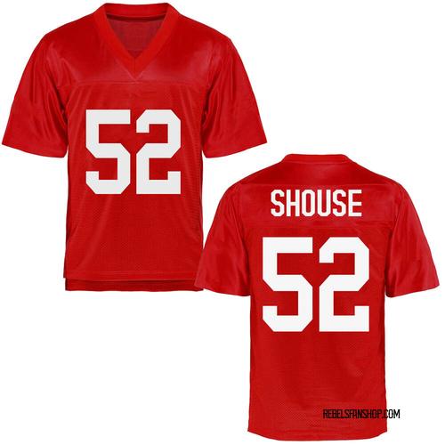 Men's Luke Shouse Ole Miss Rebels Game Cardinal Football College Jersey