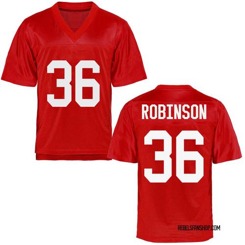 Men's Mark Robinson Ole Miss Rebels Replica Cardinal Football College Jersey
