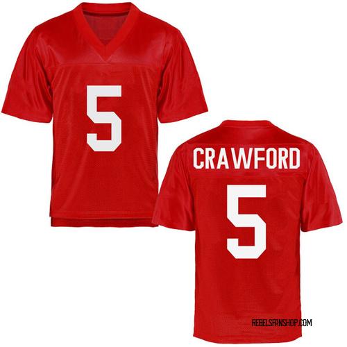 Men's Markel Crawford Ole Miss Rebels Game Cardinal Football College Jersey