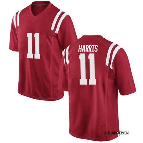 Men's Nike A.J. Harris Ole Miss Rebels Replica Red Football College Jersey
