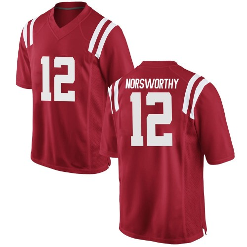 Men's Nike Adam Norsworthy Ole Miss Rebels Game Red Football College Jersey