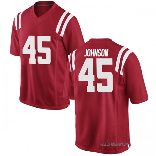 Men's Nike Amani Johnson Ole Miss Rebels Game Red Football College Jersey