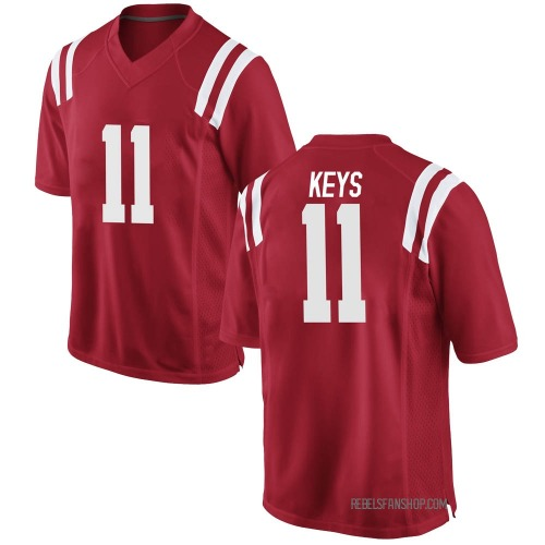 Men's Nike Austin Keys Ole Miss Rebels Game Red Football College Jersey