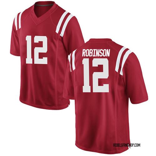 Men's Nike Austrian Robinson Ole Miss Rebels Replica Red Football College Jersey