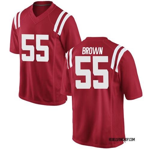 Men's Ben Brown Ole Miss Rebels Game Red Football College Jersey