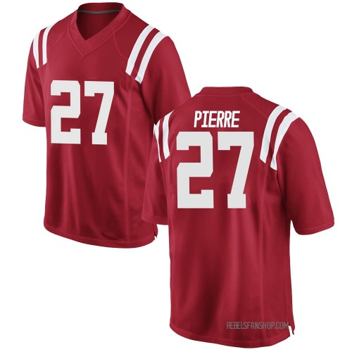 Men's Nike Brandon Pierre Ole Miss Rebels Game Red Football College Jersey