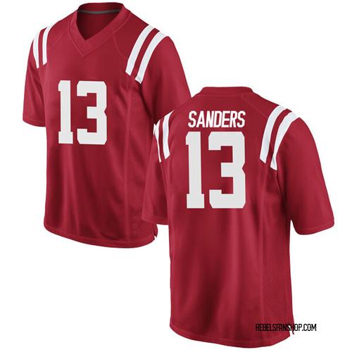 Men's Nike Braylon Sanders Ole Miss Rebels Replica Red Football College Jersey