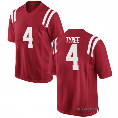 Men's Nike Breein Tyree Ole Miss Rebels Game Red Football College Jersey