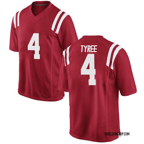 Men's Nike Breein Tyree Ole Miss Rebels Replica Red Football College Jersey