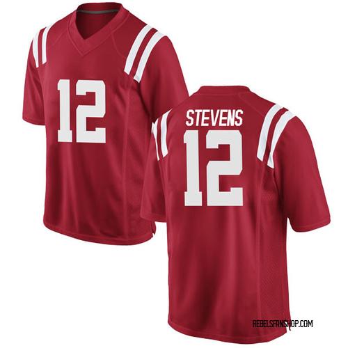 Men's Nike Bruce Stevens Ole Miss Rebels Game Red Football College Jersey
