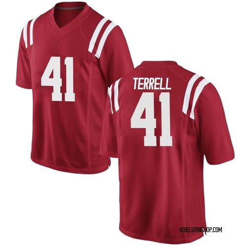 Men's Nike CJ Terrell Ole Miss Rebels Replica Red Football College Jersey
