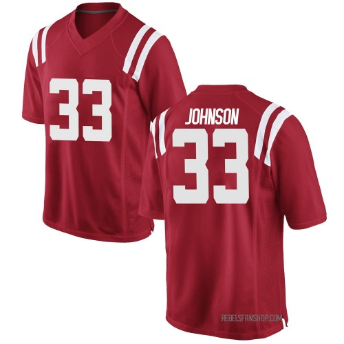 Men's Nike Cedric Johnson Ole Miss Rebels Game Red Football College Jersey