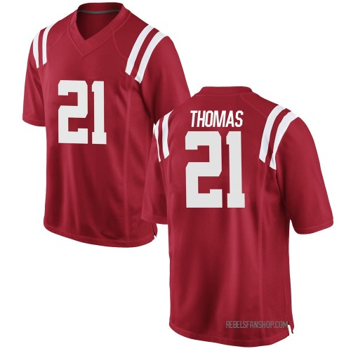 Men's Nike Damarcus Thomas Ole Miss Rebels Game Red Football College Jersey