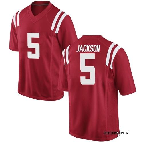 Men's Nike Dannis Jackson Ole Miss Rebels Game Red Football College Jersey