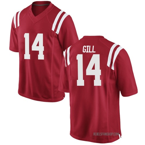 Men's Nike Daylen Gill Ole Miss Rebels Game Red Football College Jersey