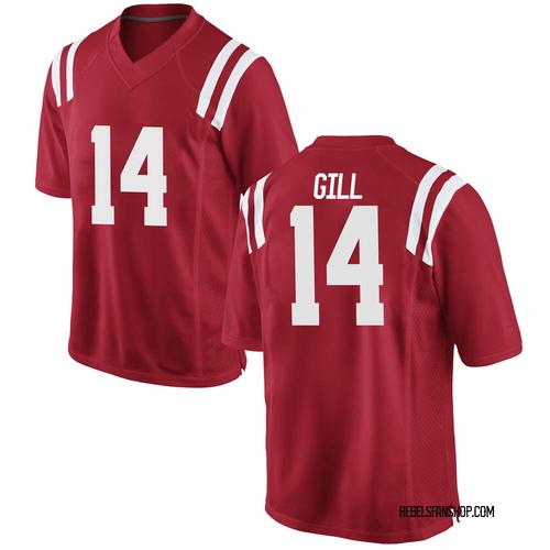 Men's Nike Daylen Gill Ole Miss Rebels Replica Red Football College Jersey