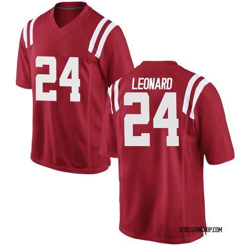 Men's Nike Deane Leonard Ole Miss Rebels Game Red Football College Jersey