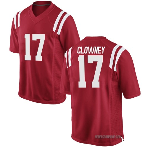 Men's Nike Demon Clowney Ole Miss Rebels Replica Red Football College Jersey
