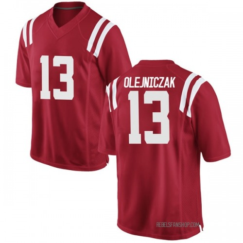 Men's Nike Dominik Olejniczak Ole Miss Rebels Game Red Football College Jersey