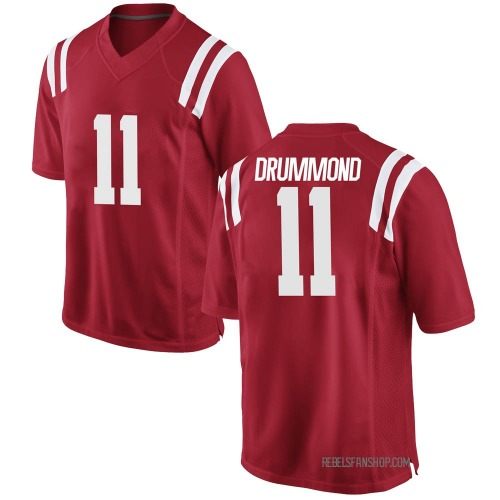 Men's Nike Dontario Drummond Ole Miss Rebels Replica Red Football College Jersey