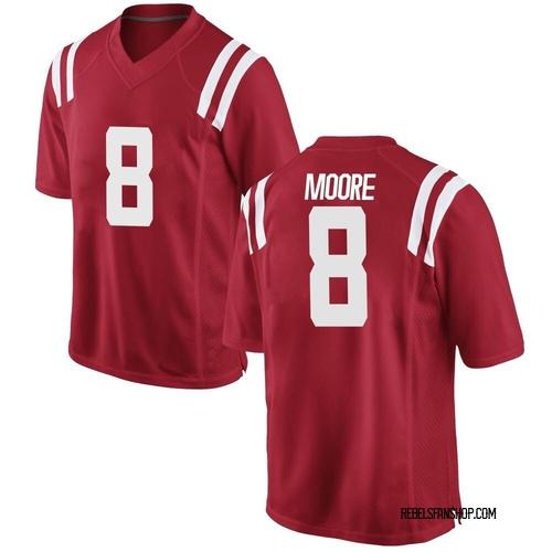 Men's Nike Elijah Moore Ole Miss Rebels Game Red Football College Jersey