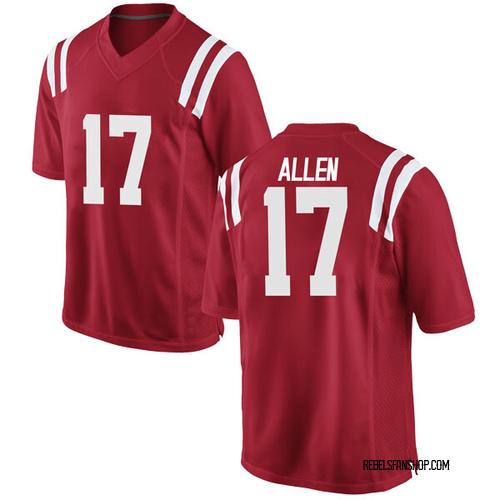 Men's Nike Floyd Allen Ole Miss Rebels Game Red Football College Jersey