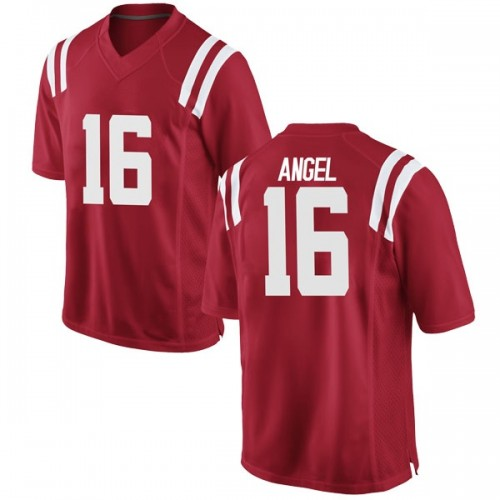 Men's Nike Gabe Angel Ole Miss Rebels Game Red Football College Jersey
