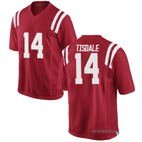 Men's Nike Grant Tisdale Ole Miss Rebels Game Red Football College Jersey
