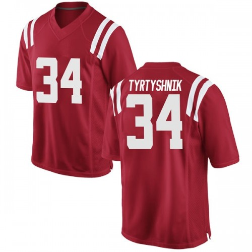 Men's Nike Ilya Tyrtyshnik Ole Miss Rebels Game Red Football College Jersey