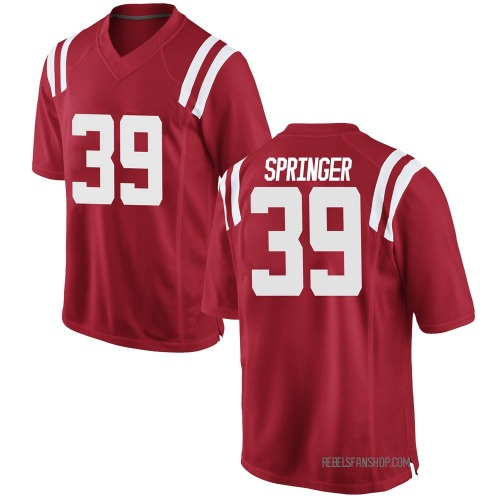 Men's Nike Jacob Springer Ole Miss Rebels Game Red Football College Jersey