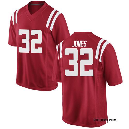 Men's Nike Jacquez Jones Ole Miss Rebels Game Red Football College Jersey