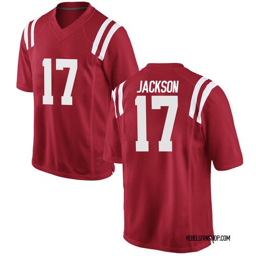 Men's Nike Jadon Jackson Ole Miss Rebels Game Red Football College Jersey