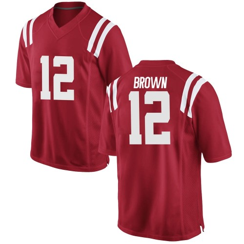 Men's Nike Jakivuan Brown Ole Miss Rebels Game Red Football College Jersey