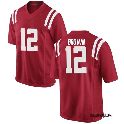 Men's Nike Jakivuan Brown Ole Miss Rebels Replica Red Football College Jersey