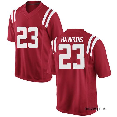 Men's Nike Jakorey Hawkins Ole Miss Rebels Replica Red Football College Jersey