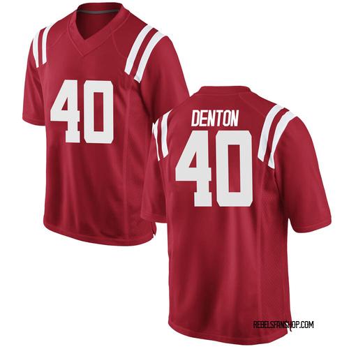 Men's Nike Jalen Denton Ole Miss Rebels Game Red Football College Jersey