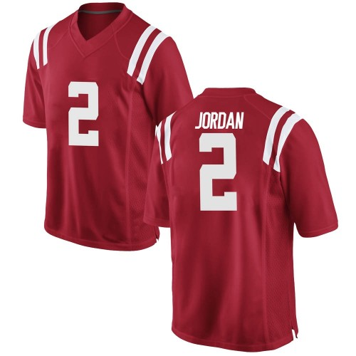 Men's Nike Jalen Jordan Ole Miss Rebels Game Red Football College Jersey