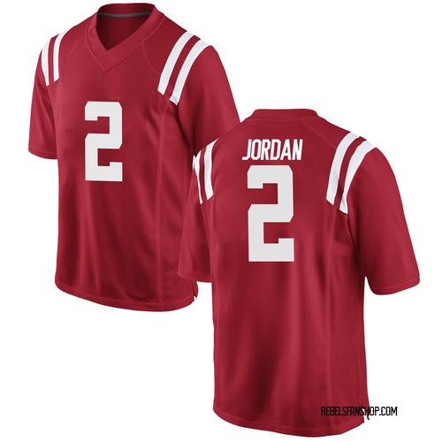 Men's Nike Jalen Jordan Ole Miss Rebels Replica Red Football College Jersey