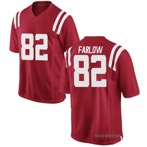 Men's Nike Jared Farlow Ole Miss Rebels Game Red Football College Jersey