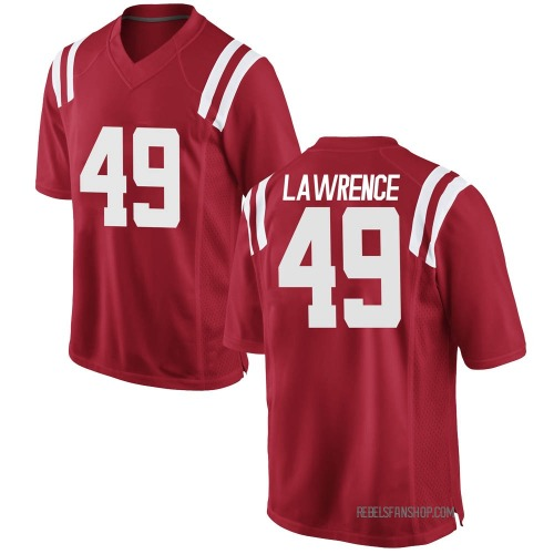 Men's Nike Jared Lawrence Ole Miss Rebels Game Red Football College Jersey