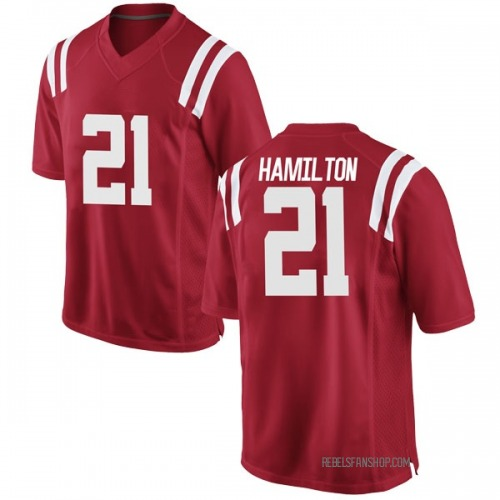 Men's Nike Javien Hamilton Ole Miss Rebels Game Red Football College Jersey