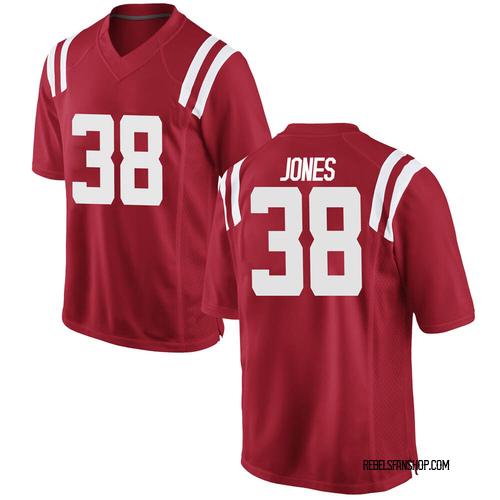 Men's Nike Jaylon Jones Ole Miss Rebels Game Red Football College Jersey