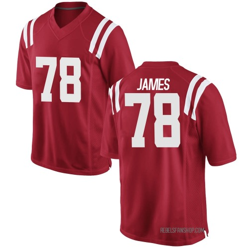 Men's Nike Jeremy James Ole Miss Rebels Game Red Football College Jersey