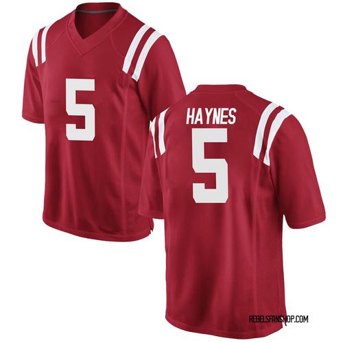 Men's Nike Jon Haynes Ole Miss Rebels Game Red Football College Jersey