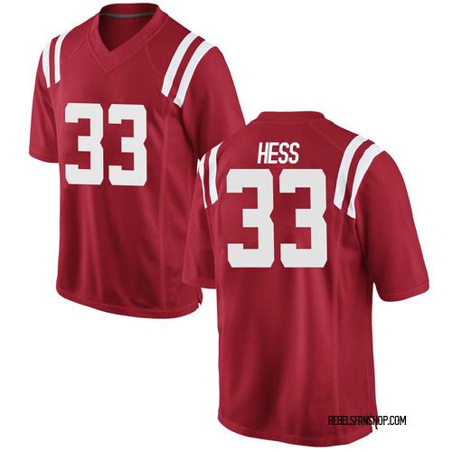 Men's Nike Jonathan Hess Ole Miss Rebels Replica Red Football College Jersey
