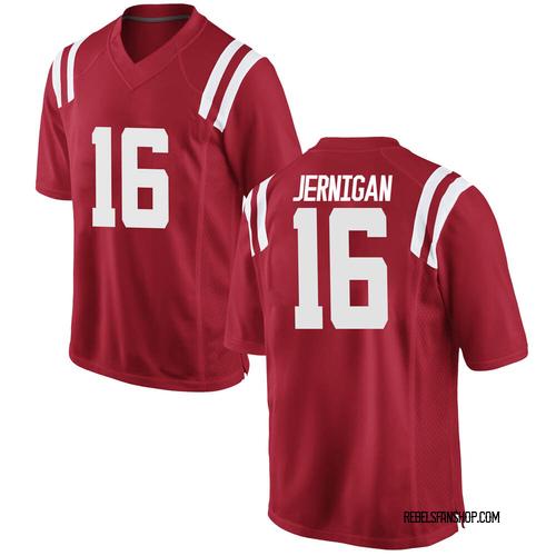 Men's Nike Jordan Jernigan Ole Miss Rebels Replica Red Football College Jersey